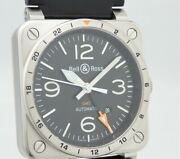 Bell And Ross Br03 Gmt Automatic Black Dial W /box Guarantee 2 Replacement Belts