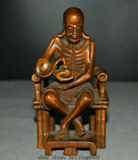 4.8 Old Chinese Boxwood Hand Carved Araht Rohan Luohan Buddha Seat Chair Statue