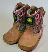 John Deere Brown Pink Leather Baby Boots Booties Size 2m By Dan Post