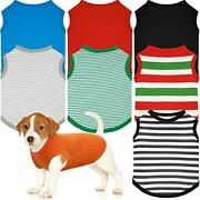 8 Pieces Dogs T-shirt Blank Dog Shirts Pet Summer Striped Shirts Puppy Breath...