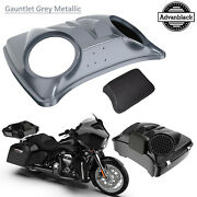 Gauntlet Grey Metallic 8and039and039 Speaker Lids For Advanblack/harley Chopped Tour Pack