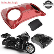 Ember Red Sunglo 8and039and039 Speaker Lids For Advanblack/harley Chopped Tour Pak Pack