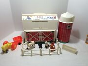 Vintage Fisher Price Little People 915 Play Family Farm With Silo Animals Extras