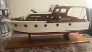 Antique 1950andrsquos Chris Craft Hand Built 35andrdquo Wooden Model Yacht Display