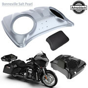 Brilliant Silver 8and039and039 Speaker Lids For Advanblack/harley Chopped Tour Pak Pack
