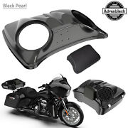 Black Pearl 8and039and039 Speaker Lids For Advanblack/harley Chopped Tour Pak Pack