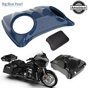 Big Blue Pearl 8and039and039 Speaker Lids For Advanblack/harley Chopped Tour Pak Pack
