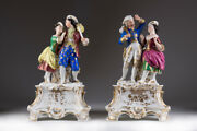 Antique Original 19th Rare French Figurines With Two Gallant Old Pairs 33 Cm