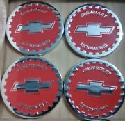 Chevrolet Wire Wheel Emblems 4 Red And Chrome Size 2.25 Zenith Style
