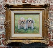 Mona Freeman -portrait Of Two Cute White Poodles -oil Painting