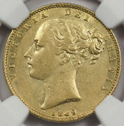 Great Britain Uk 1849 Full Sovereign Gold Coin Ngc Au50 Shield Type Double Date