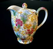 Rare Royal Winton Grimwades Chintz Marguerite Gold Hot Water Pitcher And Lid