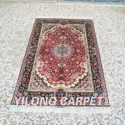 Yilong 4and039x6and039 Red Handmade Silk Carpet Home Decor Living Room Area Rug Z477a