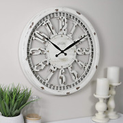 Large Round Wall Clock Rustic Distressed Farmhouse Antique Cottage Living Room