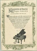 Kranich And Bach Player Grand Piano Advertisement Late 1800s To Early 1900s