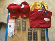Maryland Terps Golf Lot Polos, Hats, Ball Makers, Titleist Golf Glove New/tags
