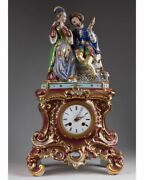 Antique 1844 Original French Porcelain Clock Decorated With Figurine Gallant