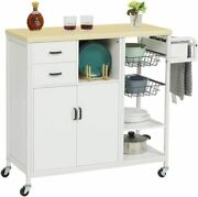 Mobile Kitchen Island Kitchen Cart With Wood Top And Storage Cabinets And Drawer