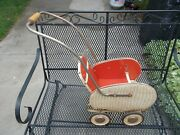 Antique Art Deco Fabulous Baby Doll 1920-1930 Wicker Red Buggy Carriage Pram