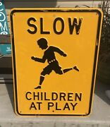 Vintage Slow Children At Play Embossed Heavy Steel Road Sign 18 X 24