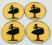 Antique Dresden Villeroy And Boch Hg 4x Dancer Silhouette Coasters Rare 1874-1909