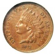 1872 Indian Cent 1c - Certified Ngc Au55 - Rare Early Date Penny