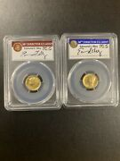 2016-w Pcgs Sp70 100th Anniversary First Strike 2 Coins Set Ed Moy Signed