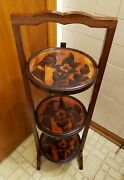 Vintage 3-tier Solid Wood Carved Folding Table Pie Stand.plantmuffincakebirds