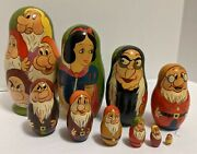 Vintage Disney Snow White And Seven Dwarfs And Evil Queen Stacking Nesting Doll Set