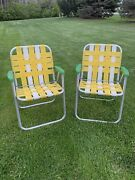 Lot Of 2 Vintage Yellow Webbed Aluminum Folding Lawn Chairs Camping Glamping 2