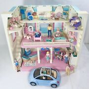 1993 Fisher Price Loving Family Fold Up Dream Dollhouse 6364 W/ Accessories Lot