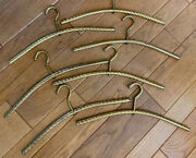 Rare Antique Vintage Lot Of 7 Ornate Solid Heavy Brass Clothes Coat Hangers