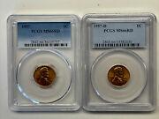 1957-p And 1957-d Pcgs Ms66rd Lincoln Cents Both Coins For One Low Price