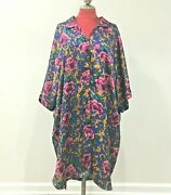 Intimate Pleasures Plus Size Silky Night Dress Nightie Royal Blue Pink And Gold
