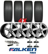 20 Glossy Grey Wheels Rims Tires Falken Staggered 2010 2011 2012 2013 2014 2015