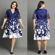 ⭐⭐⭐⭐⭐plus Size Women Floral Print V Neck Swing Dress Evening Party Prom Gown Usa