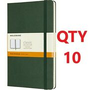 10 Moleskine Classic Notebook Hard Cover Lg 5 X 8.5 Ruled Myrtle Green