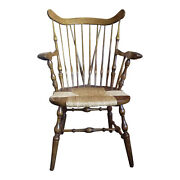 Antique Nichols And Stone Windsor Arm Chair With Rush Seat 37 T X 17 W X 19