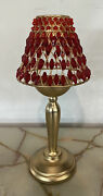 12 Gold Tone Votive Or Tea Candle Holder With Red Jeweled Lamp Shade
