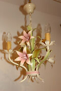 Italian Vintage Tolewere Chandelier Shabbychic Lily Pink Flower