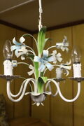 French Vintage Flower Chandelier Tole Were Lamp Shabby Chic 4 Lights