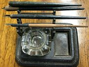 Antique Ink Well Cast Iron Single Well With Pens