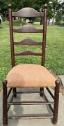 18th C American Delaware River Valley Ladder Back Side Chair Rare Old Paint