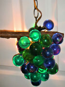 Lucite Hanging Swag Grape Cluster Lamp - Green / Blue Lucite Grapes - M C M