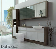 Bathroom Fitted Furniture Light Grey Gloss/mali Wenge 1700mm H1 With Wall And Tall