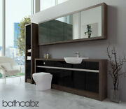 Bathroom Fitted Furniture Black Gloss/mali Wenge 2100mm H1 With Wall And Tall - Ba