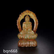 4.5 Handmade Old Ming Dynasty Chinese Antique Hetian Jade Natural Buddha Statue