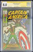 Captain America 117 Cgc 8.0 Ow-white Pages First Falcon Stan Lee Signed Hot