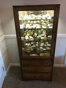 Antique Oak Medicine Cabinet With Rock And Fossil Collection