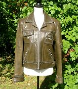 Double D Ranch Ranchwear Dark Olive Green Studded Butterfly Concho Jacket Euc M